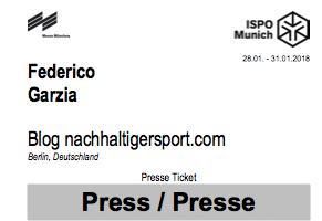 ISPO Munich 2018 Ingresso Giornalista sport sostenibile